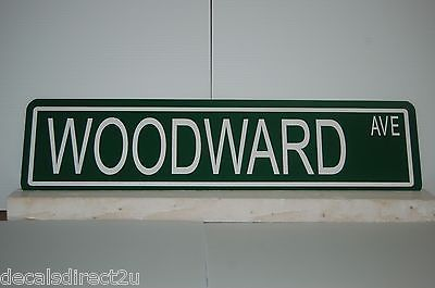 "Metal Custom Street Sign ""Woodward Ave"" Detroit Strip Hot Rod Car 057z"