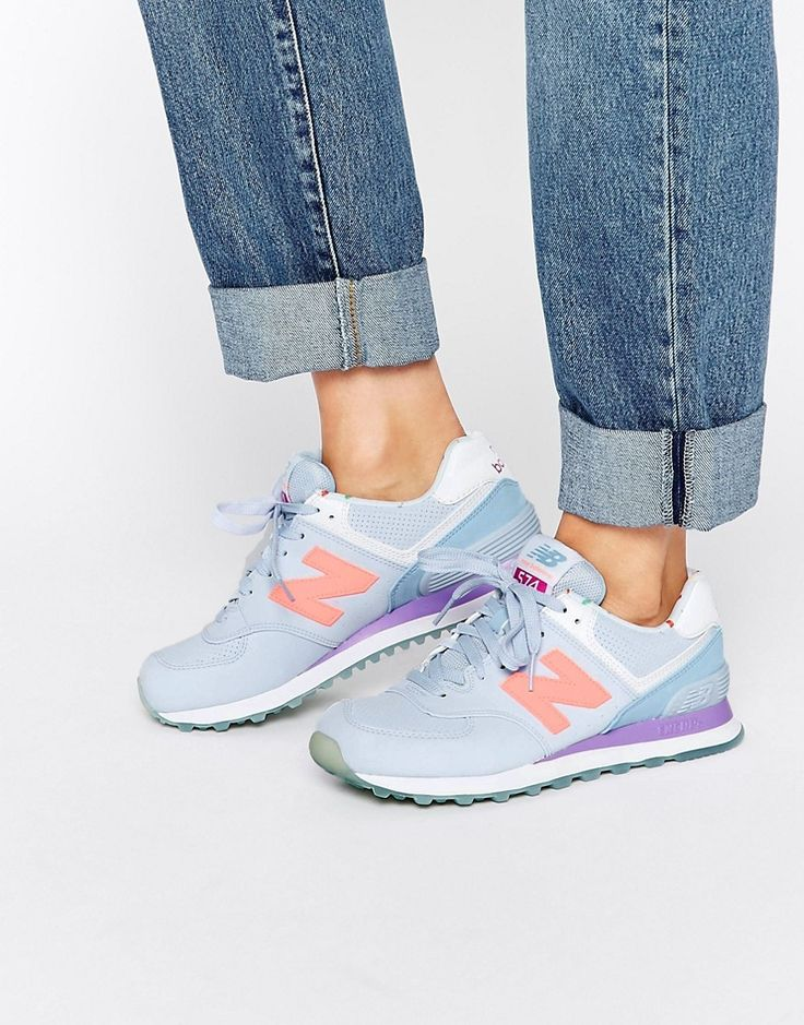 womens new balance lilac 574 synthetic trainers