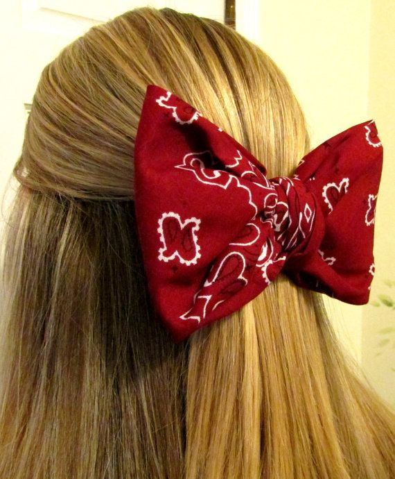 Bandana hair bow,large hair bow, hair bow,bow,big hair bow,teens accessories,teens,womens,hair accessories,red hair bow on Etsy, $7.50