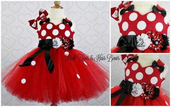 Red Minnie Mouse Tutu dress Classic red Minnie by GlitterMeBaby