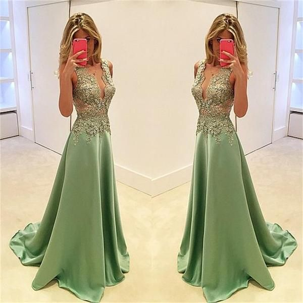 Deep V-Neck Prom Dresses,Stunning Prom Dresses,A-line Prom Dresses,Sexy Prom…
