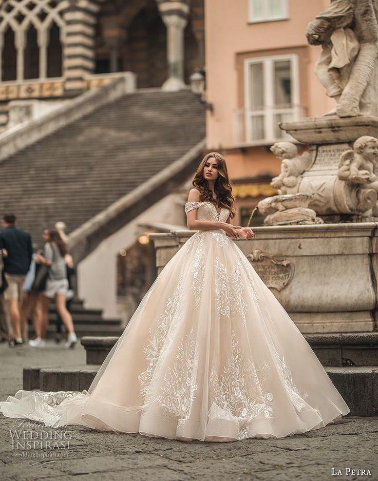la petra 2019 bridal off the shoulder deep plunging sweetheart neckline full emb…