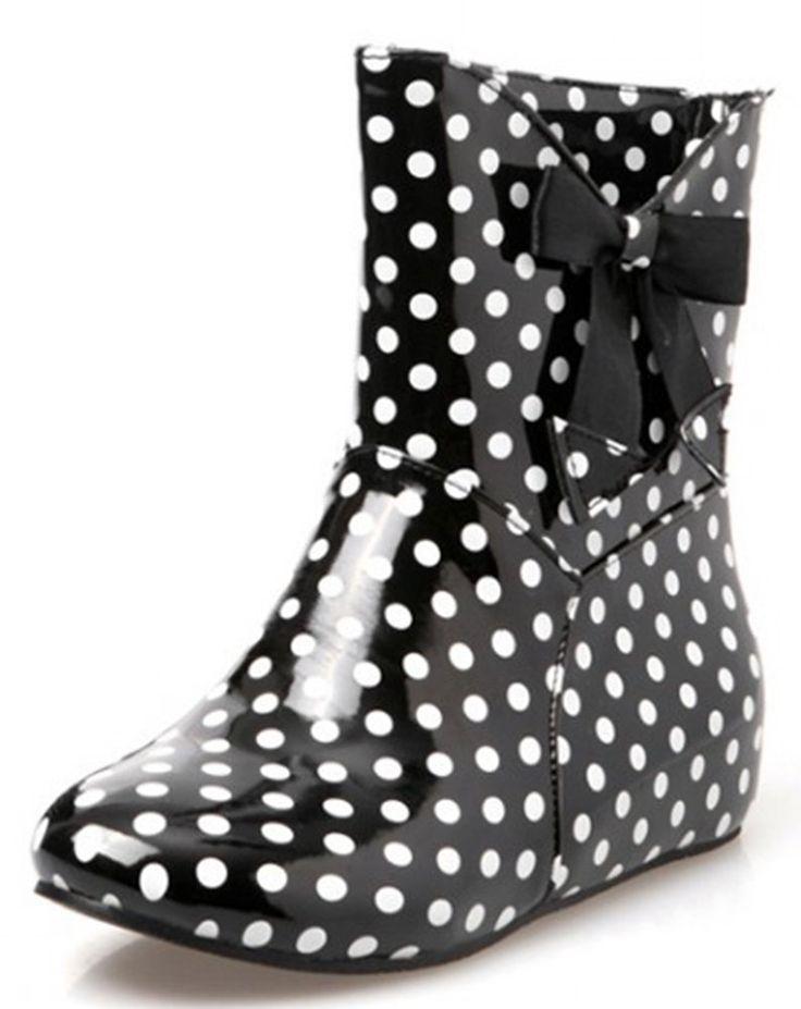 IDIFU Women's Sweet Polka Dots Low Hidden Heels Ankle High Rubber Rain Boots Short Wellies With Bow Black 4 B(M) US