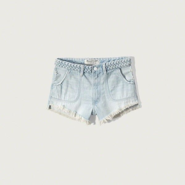 Abercrombie & Fitch High Rise 2 Inch Festival Shorts ($18) ❤ liked on Polyvore featuring shorts, destroyed light wash, ripped shorts, distressed high waisted shorts, destroyed jean shorts, ripped denim shorts and denim shorts
