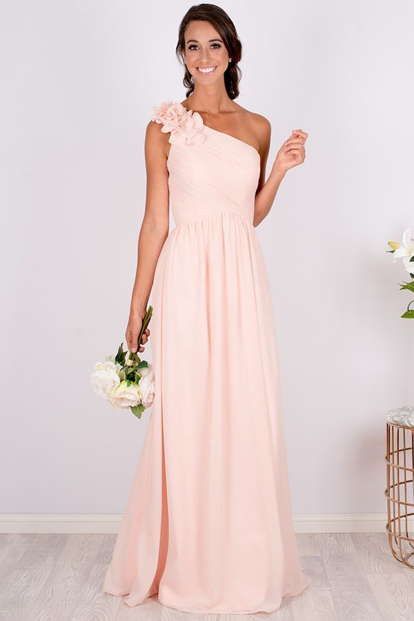 Blush Bridesmaid Dress With A Stunning One Shoulder Ruffle Flower Detail Blush Bridesmaid Dresses Long One Shoulder Bridesmaid Dresses Blush Bridesmaid Dresses