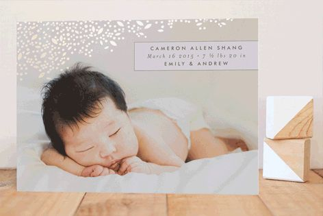 Golden Breath Foil-Pressed Birth Announcements by Phrosne Ras at minted.com