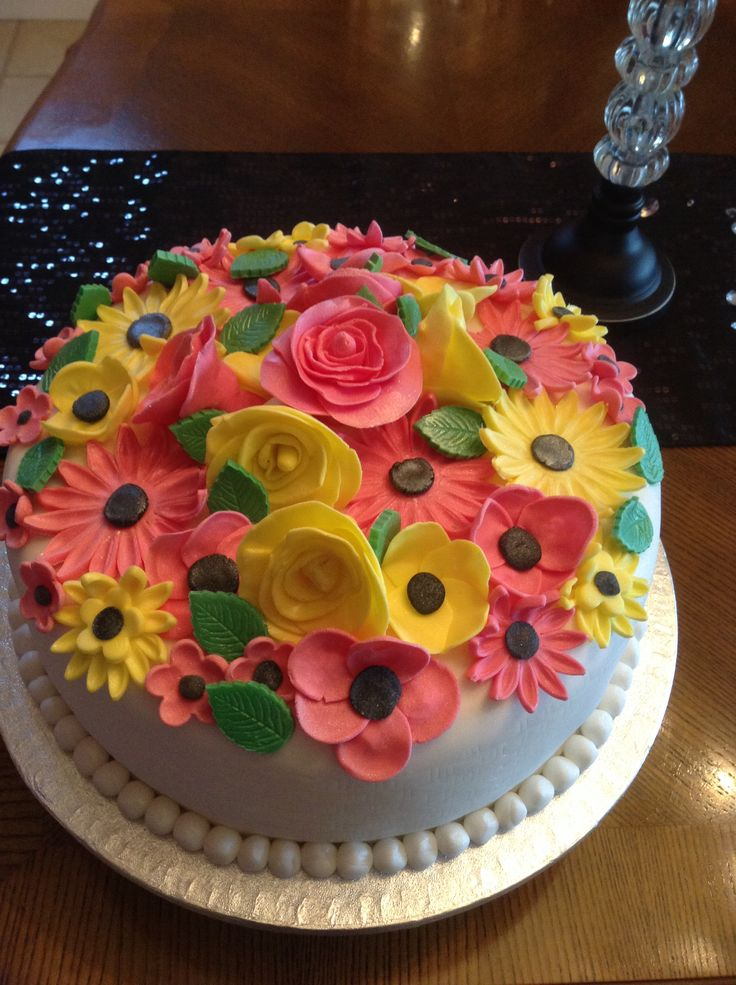 90th birthday cake with edible handmade flowers cake for 90th birthday cake decoration ideas