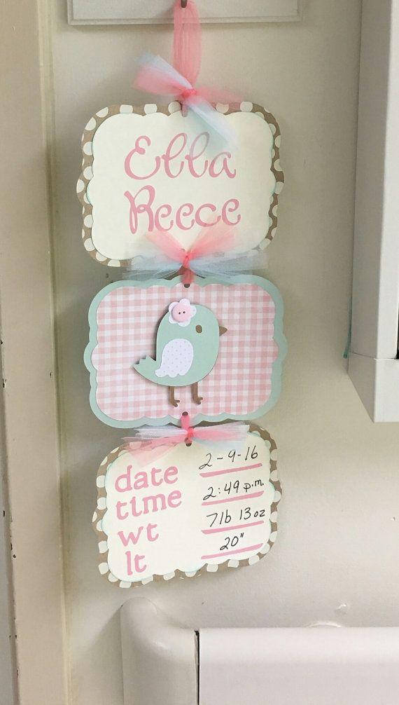 Tarjetas de Baby Girl Hospital puerta signo bebé por KatlinLee123
