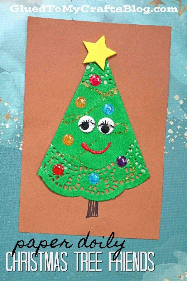 Paper Doily Christmas Tree Friends Paper Art Craft Kindergarten Christmas Crafts Christmas Tree Art Christmas Tree Crafts