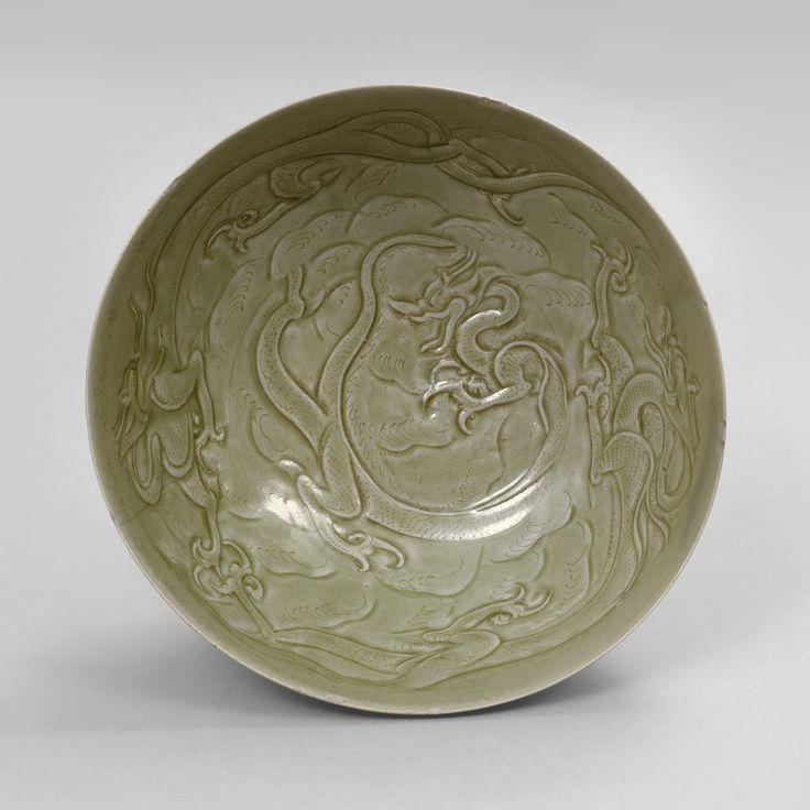 Bowl with Dragons among Waves