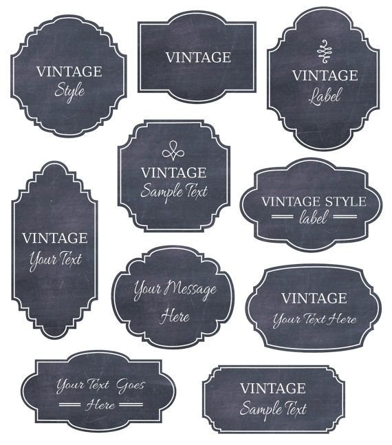 Chalkboard Labels Clip Art // Digital Frames // Vector EPS Editable // DIY Cards Invitation // Design // Instant Download // Vintage Style
