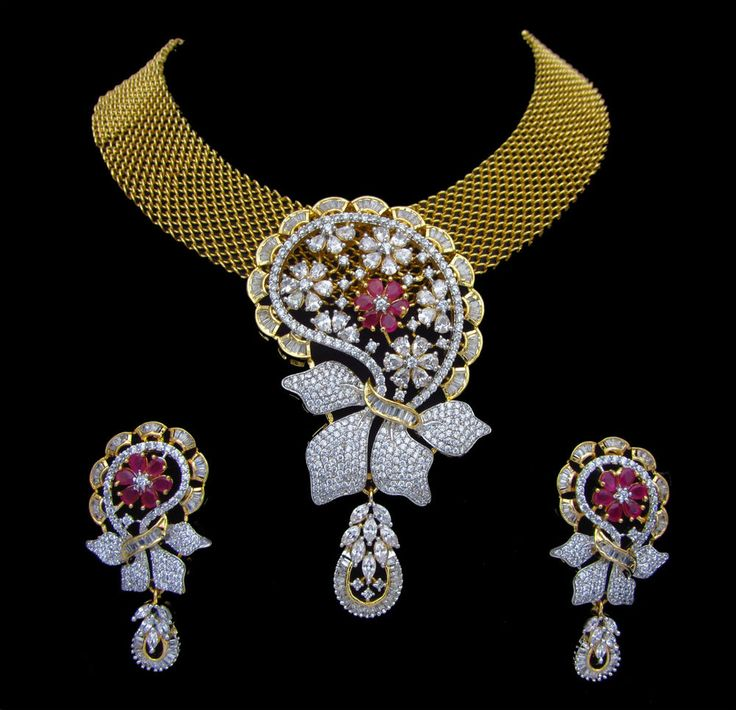 Indian CZ AD Gold & Silver Two Tone Bollywood Gorgeous Necklace Swam Jewelry 172