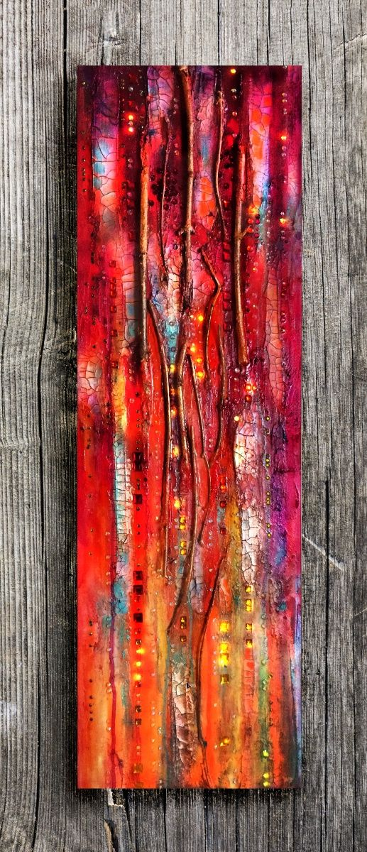 Texture Abstract Painting The Golden Gate, Red and Gold, crackles, big canvas, Sparkles, vertical canvas, twig, Mixed media, glass wall., Painting by Maria Fondler-Grossbaum   Artfinder
