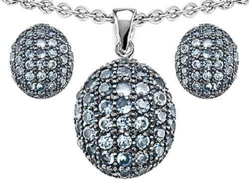 Original Star K(tm) Simulated Aquamarine Oval Puffed Pendant Box Set with matching earrings in 925 Sterling Silver Star K. $99.99. Star K. Designs are exclusive and protected by Copyright Laws. Guaranteed Authentic from the Star K designer line. Certificate of Authenticity Included with this item. Free Lifetime Warranty exclusively offered by Finejewelers. Free High End Jewerly Box and Gift Packaging