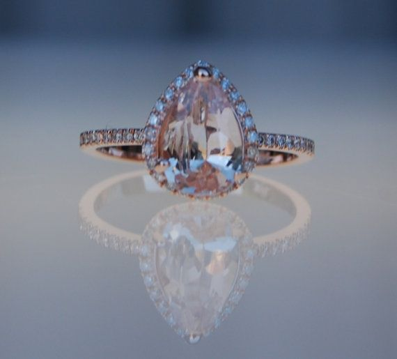 1.55ct Pear shape Peach champagne sapphire 14k rose gold diamond ring engagement ring #eidelprecious