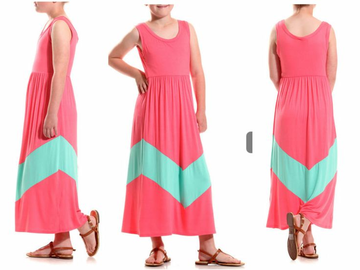 Little Girls Pink & Mint Chevron Stripe Maxi Dress! This adorable little girls dress is so soft & comfy!  For all you moms out there, check out the coordinating mom dress! Sizes 3-10years. #pink #mint #chevron #maxi #dresses #littlegirls #minime #mommyandme #mothersday