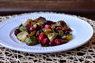 My Own Sweet Thyme: Roasted Brussels Sprouts and Cranberries with Pecans
