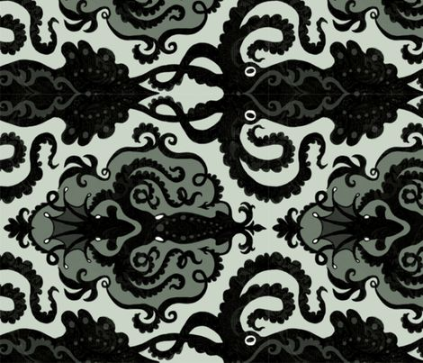 Victorian Octopus fabric by elegantprodigyprint on Spoonflower - custom fabric
