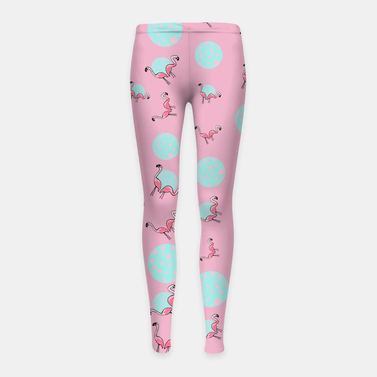 Pink Flamingo Bubble Party Girl's Leggings, Live Heroes