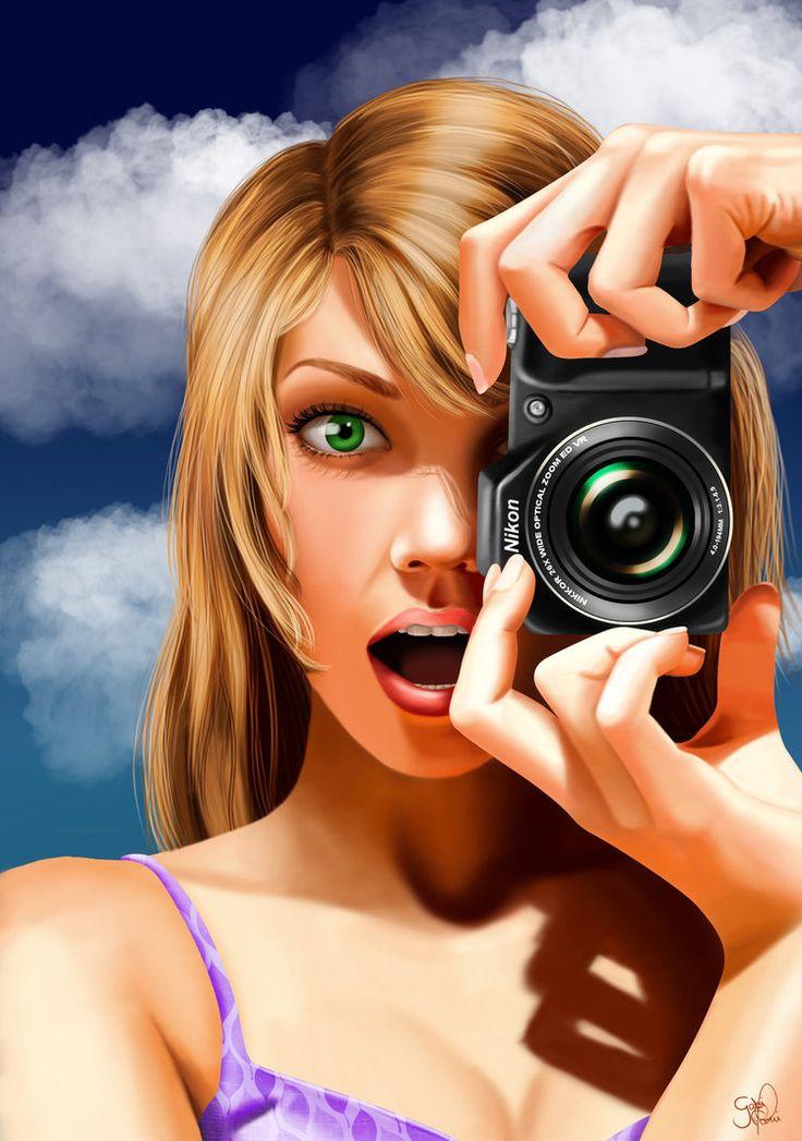 Рисунок фотографа который фотографирует