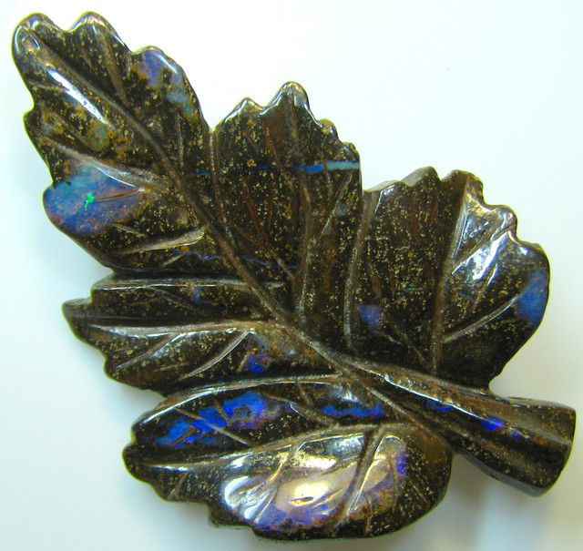 """BOULDER CARVING """" LEAF """" TOP POLISH GREAT PIECE 48.19 CTS A8872"""