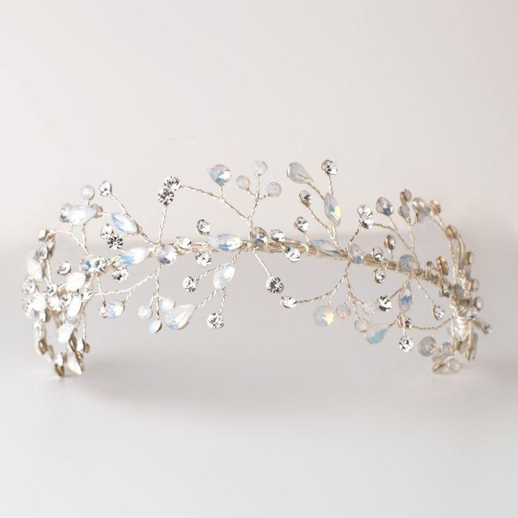 Opal Crystal Spray Silver Hand Wired Wedding Headband Tiara--Affordable Elegance Bridal -