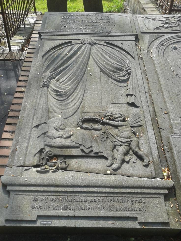 Edziena Nannenga in Meeden. Ja wij wand'len allen naar het stille graf, Ook de kind'ren vallen als de bloemen af