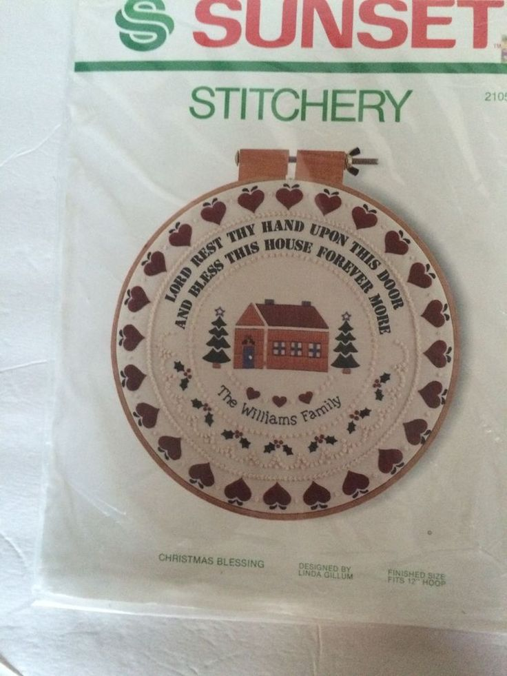 "Sunset Stitchery Christmas Blessing Holiday Needlepoint Hoop Kit 18"" Vintage #SunsetStitchery"