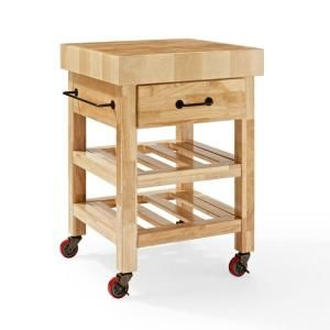 Crosley Marston Natural Kitchen Cart With Butcher Block Top-CF3007-NA - The Home Depot