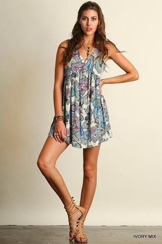 Gypsy Spirit Paisley Dress - Ivory Mix - Blue Chic Boutique  - 1