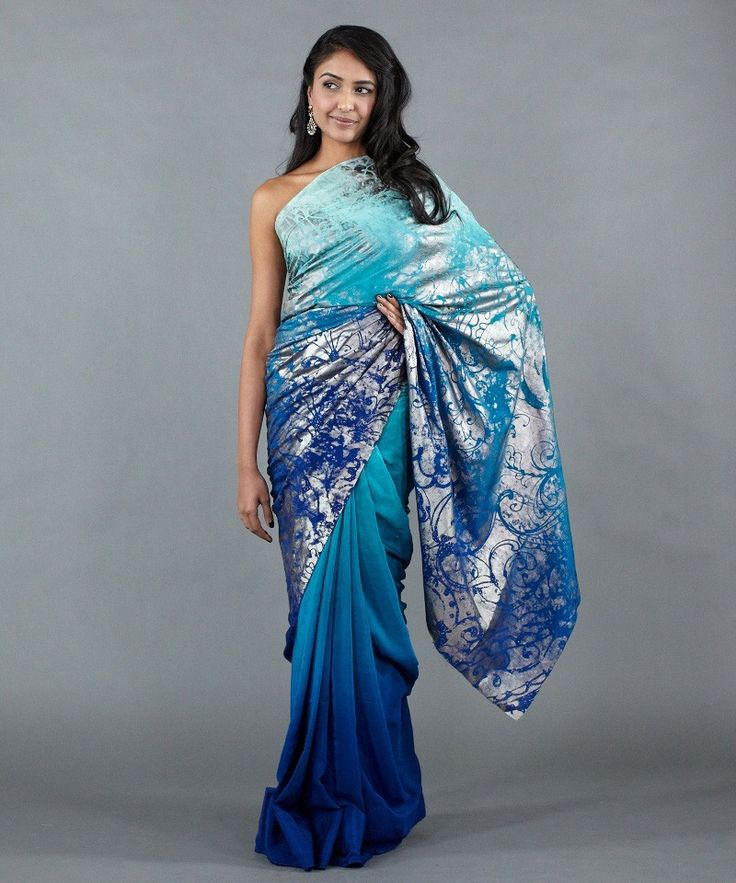 Stunning!!  Tonal Saree with Foil Printing by Satya Paul - Apparel