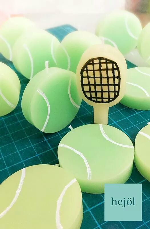 a custom order to make a few candles for a birthday cake - 11 tennis balls, and a racket for a 12-to-be tennis boy! what a fun project!
