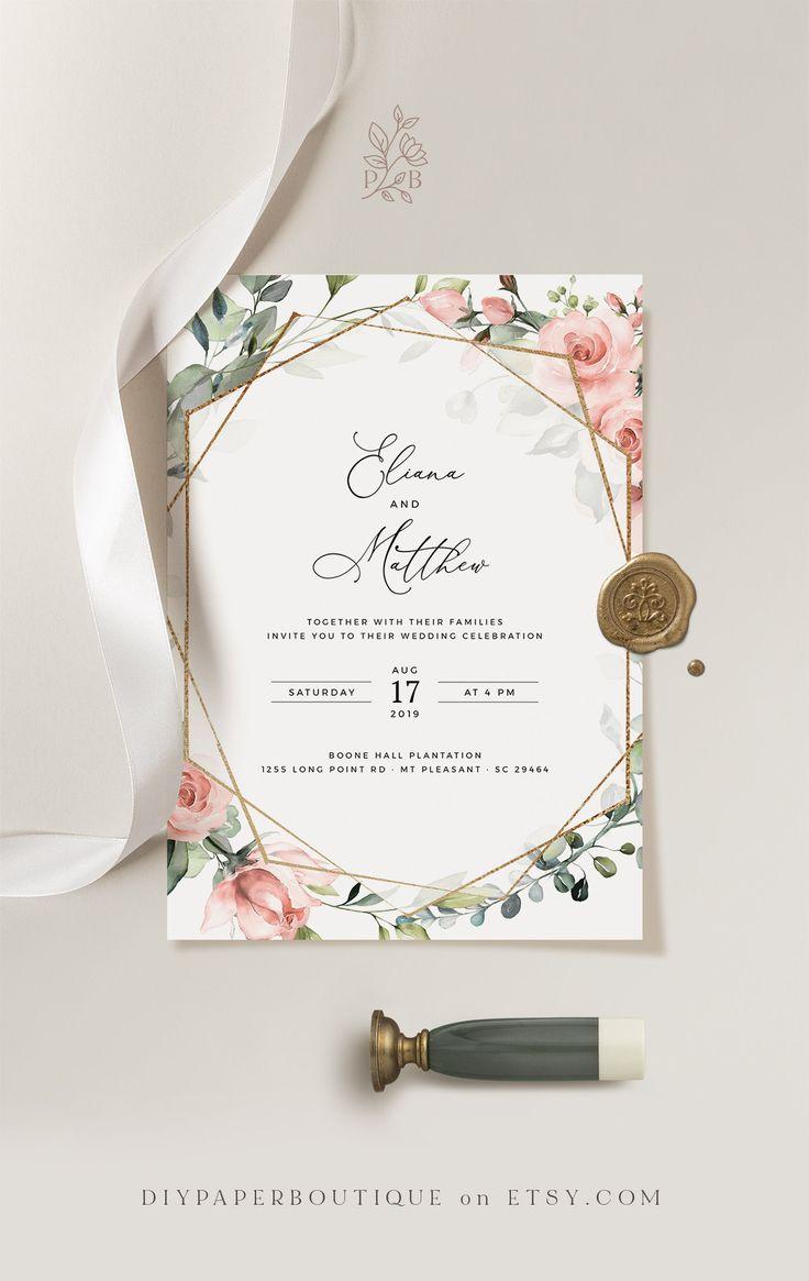 MIU Geometric Rose Greenery Wedding Invitation Template Red   Etsy ...