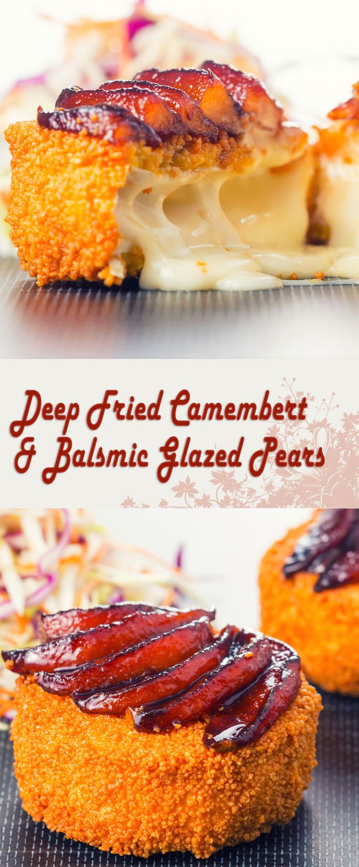Deep Fried Camambert & Balsamic Glazed Pears Recipe: The crispy cous cous topping makes this deep fried Camembert really stand out from the crowd and matches perfectly with the balsamic glazed pears!