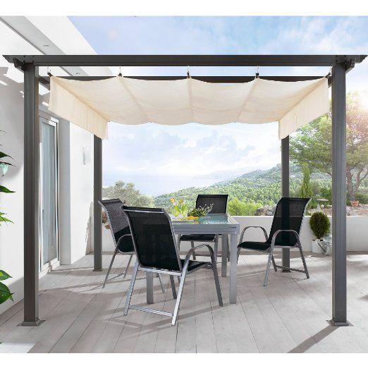 terrassen pavillon pergola aluminiumgestell polyester dach. Black Bedroom Furniture Sets. Home Design Ideas