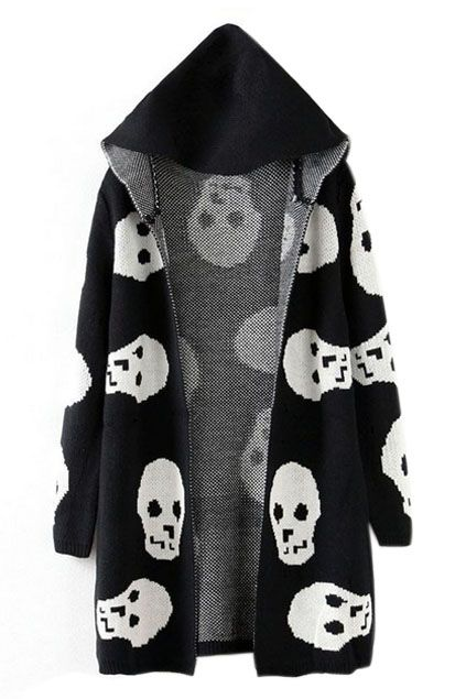 abaday | Skull Knitted Hooded Long Sleeves Black Cardigan, The Latest Street Fashion