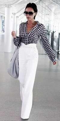 white pants with polka dot blouse