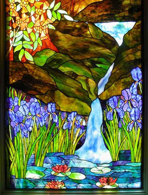 124 best images about stained glass on pinterest window for Glass waterfall design