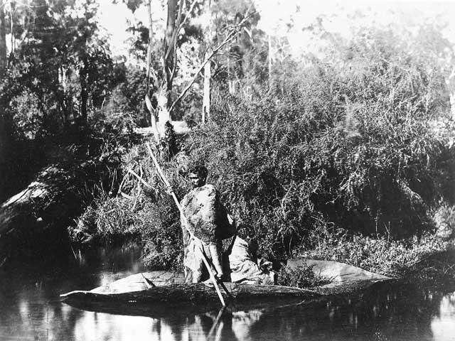 Victorian Aborigines in bark canoe c1866-87