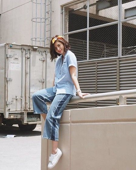 Get this look: http://lb.nu/look/8765721  More looks by Anne Curtis smith: http://lb.nu/anneh  Items in this look:  Denim Top, Cropped Jeans   #classic #dapper #street