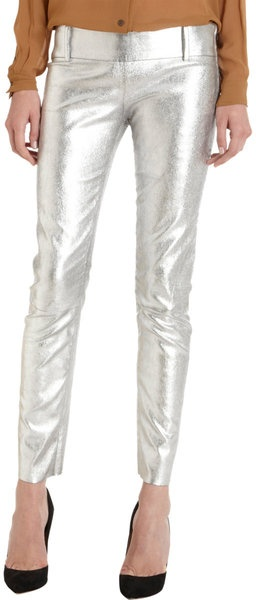(ACNE   Metallic Leather Pant)  note: the cut, but thinner waist band and no belt loops...