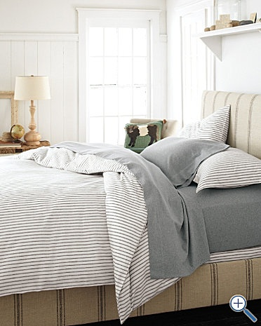 * love the gray shades with just a little white ** add some warm browns with wood ** sheets/pillows in warm blues with patterns to add more texture *