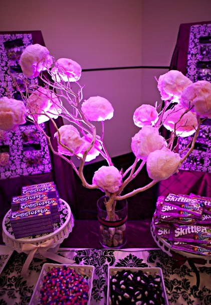 MWs designed candy buffet complete with a cotton candy tree!  http://www.michellezerrphotos.com/