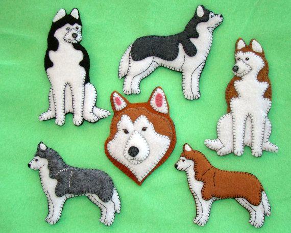 Siberian Husky Ornament. Husky refrigerator magnet. by justsue