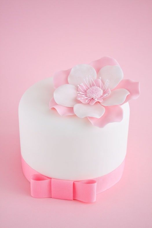 Cake with large gum paste flower by wilda