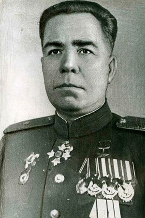 Major-General Skvortsov Alexander Vasilievich (1901 - 1948) - Soviet military leader, a participant of the Civil, Great Patriotic (WWII in Russia) and Soviet-Japanese (1945) wars, the Hero of the Soviet Union. Commanded of the 70th Rifle Regiment (1940-1942), the 204th (later - the 78th Guards) Rifle Division (1942-1943) and 26th Rifle Corps (1945).