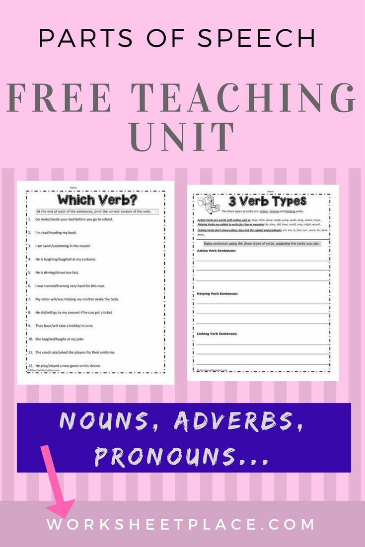 Free Parts Of Speech Unit Includes Verbs Nouns Adjectives Adverbs And Pronouns Fre Parts Of Speech Worksheets Parts Of Speech Activities Parts Of Speech [ 1102 x 735 Pixel ]