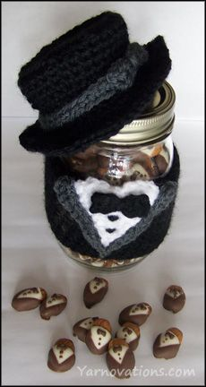 Tuxedo Chocolate Covered Almonds Recipe & Crochet Jar Cozy I love the jar cozy but as a bonus you get the almond recipe too - check this out !