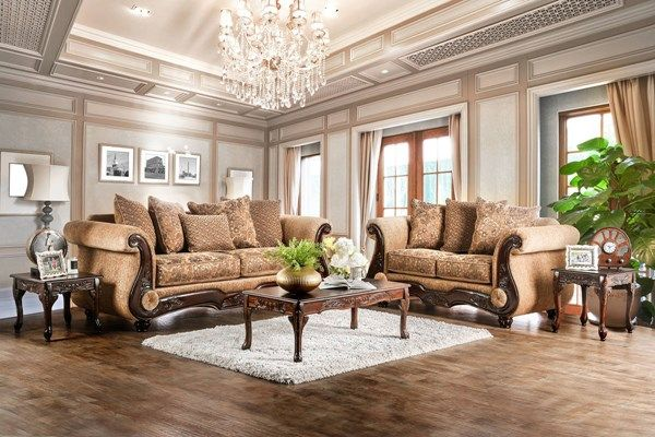 Nicanor Traditional Tan Gold Fabric Faux Leather Living Room Set