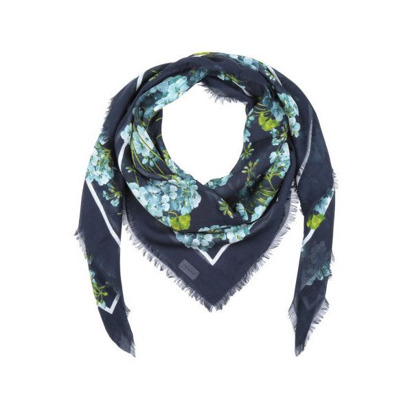 Gucci Damen Gucci Schal - New Bloom SL Scarf Dark Blue - in blau -... ($325) ❤ liked on Polyvore featuring accessories, scarves, gucci scarves, gucci and gucci shawl